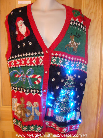 Christmas Sweater Vest with Lights Reindeer, Santa, Tree (g211)