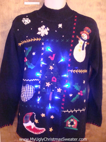 Super Tacky Black Light Up Ugly Xmas Sweater