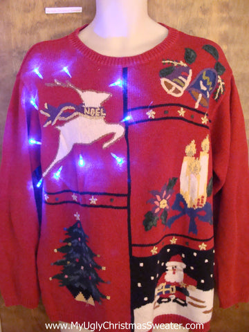 Leaping Reindeer Light Up Ugly Xmas Sweater