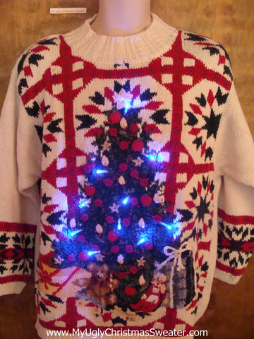 Lattice Work and Tree Light Up Ugly Xmas Sweater