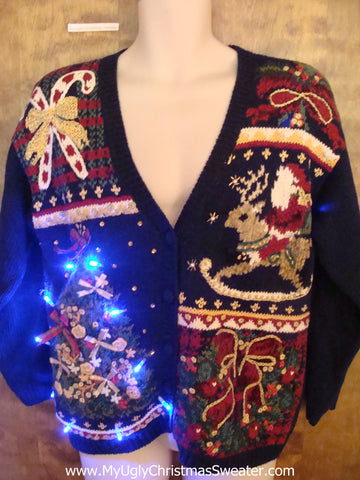 Ornate and Horrible Light Up Ugly Xmas Sweater