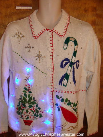 Candycane with Bow Light Up Ugly Xmas Sweater