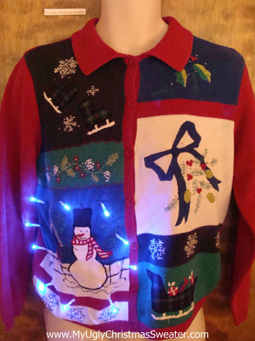 Green, Blue and Red Fun Light Up Ugly Xmas Sweater