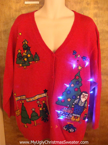 Lumberjack Santa Light Up Ugly Xmas Sweater