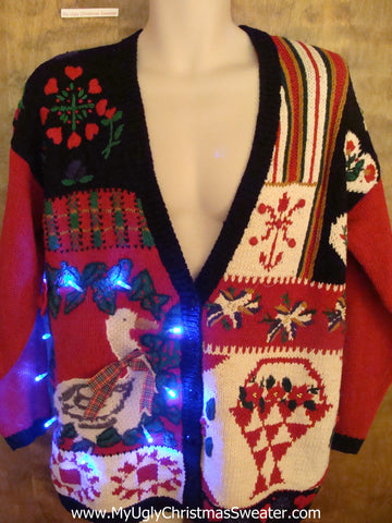 Holiday Goose Light Up Ugly Xmas Sweater