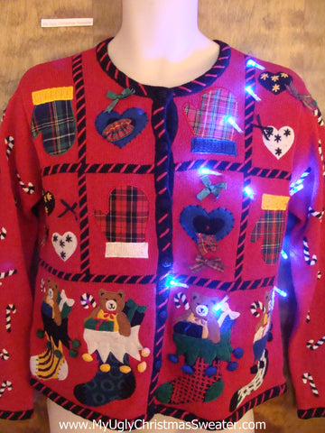 Plaid Party Light Up Ugly Xmas Sweater