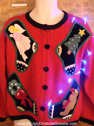 Stocking Party Light Up Ugly Xmas Sweater