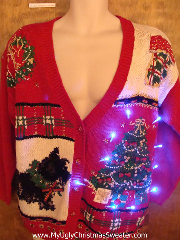 Terrier Dog and Tree Light Up Ugly Xmas Sweater