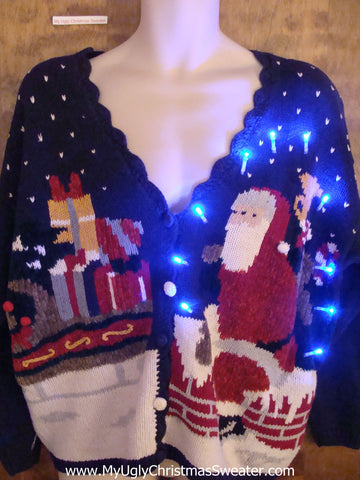 Best Santa on the Roof 80s Light Up Ugly Xmas Sweater