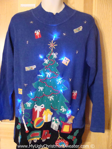 Blue Christmas Sweater with Lights with Huge Tree (g213)