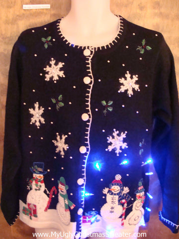 Massive Snowflakes Light Up Ugly Xmas Sweater