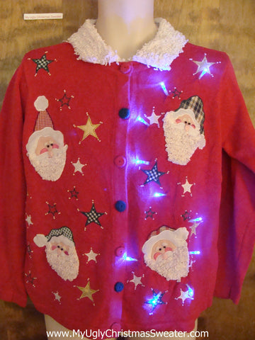Light Up Ugly Xmas Sweater Santa Heads and Fluffy Collar