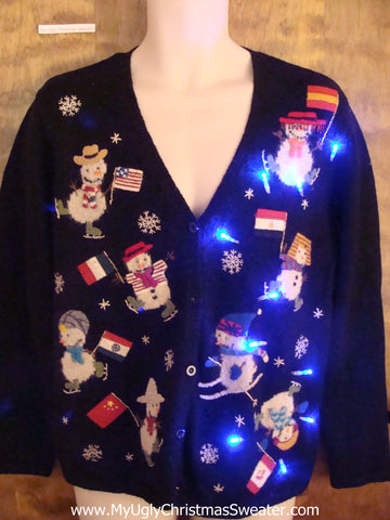 Snowman Olympics Light Up Ugly Xmas Sweater