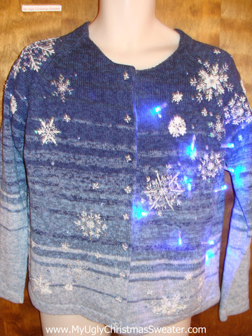 Blue Snowflakes Light Up Ugly Xmas Sweater