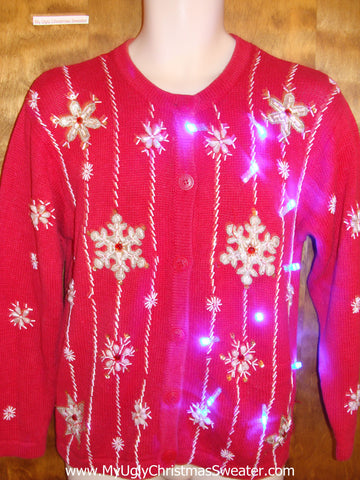 Festive Snowflakes Red Light Up Ugly Xmas Sweater