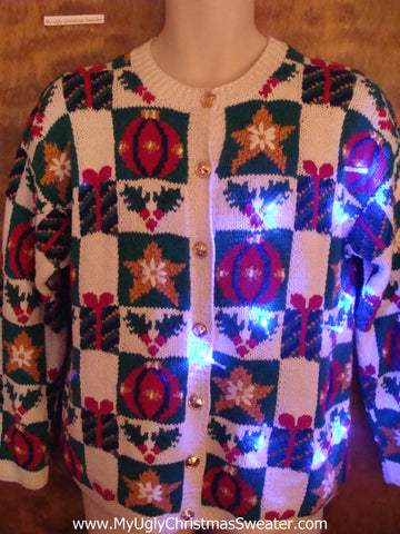Horrible 80s 2sided Light Up Ugly Xmas Sweater