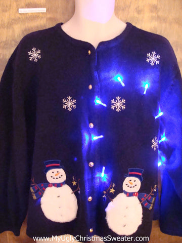 Happy Pair of Snowmen Light Up Ugly Xmas Sweater