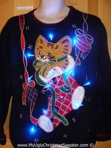 80s Cat in a Stocking Christmas Sweater with Lights (g214)