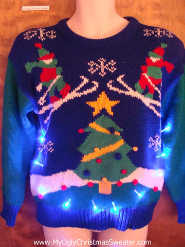 Best 80s Retro Ski Themed Light Up Ugly Xmas Sweater