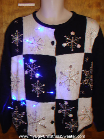 Black and White with Bling Light Up Ugly Xmas Sweater