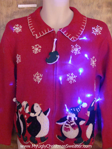 Dancing Penguins Light Up Ugly Xmas Sweater