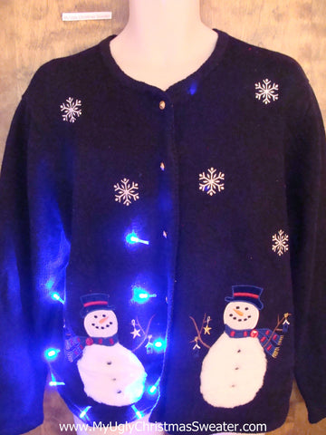 Snowman Couple Twins Light Up Ugly Xmas Sweater