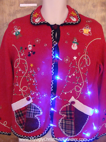 Light Up Ugly Xmas Sweater with Plaid Mitten Pockets