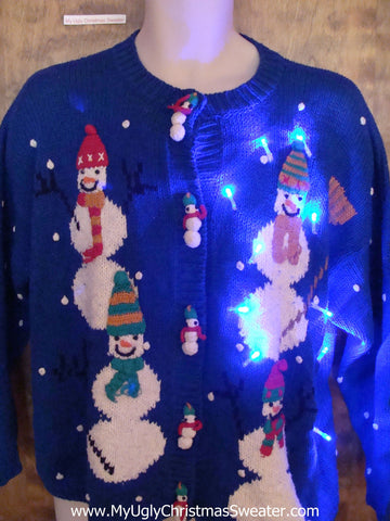 Bright Blue Light Up Ugly Xmas Sweater with Snowmen