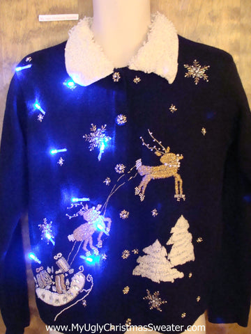 Fancy Flying Reindeer Light Up Ugly Xmas Sweater