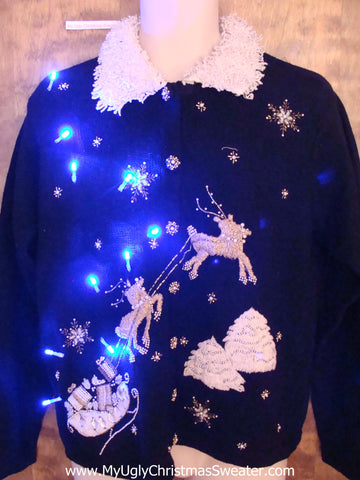 Ornate Flying Reindeer Light Up Ugly Xmas Sweater