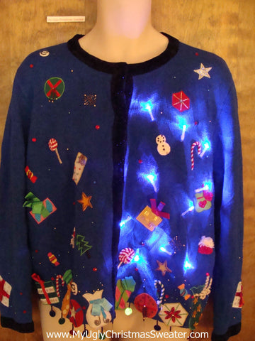 Raining Gifts Light Up Ugly Xmas Sweater