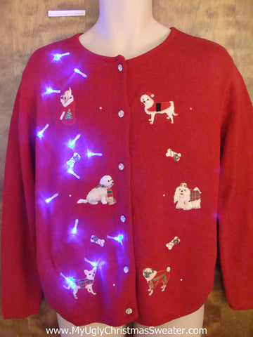Westie Dog 2sided Light Up Ugly Xmas Sweater