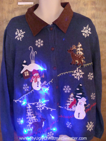 Crafty Winter Scene Light Up Ugly Xmas Sweater