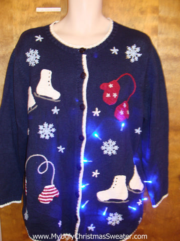 Mittens and Ice Skates Light Up Ugly Xmas Sweater
