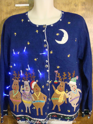 Dancing Pig and Reindeer Light Up Ugly Xmas Sweater