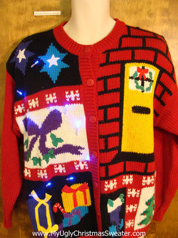 Brick House Theme 80s Light Up Ugly Xmas Sweater