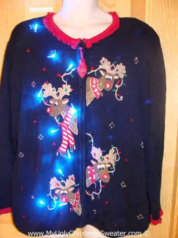 Peaking Reindeer 80s Christmas Sweater with Lights (g216)