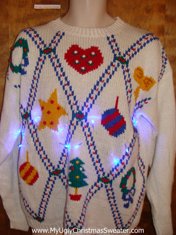 Light Up Ugly Xmas Sweater with Diagonal Grid of Festive Fun