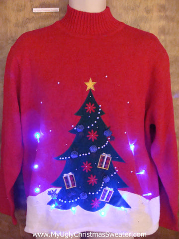 Mock Tneck with Tree Light Up Ugly Xmas Sweater