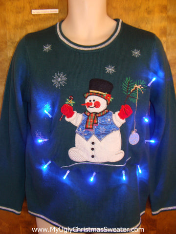 Red Mittened Snowman Light Up Ugly Xmas Sweater