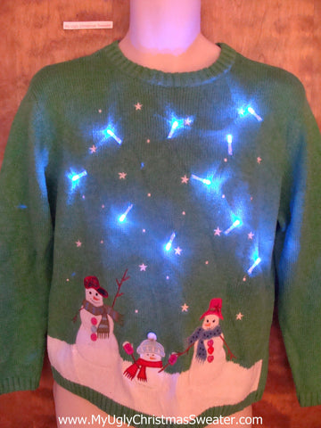 Green Starry Sky Light Up Ugly Xmas Sweater