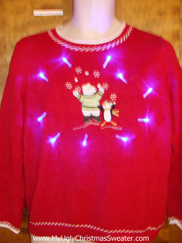Bear and Penguin Pals Light Up Ugly Xmas Sweater