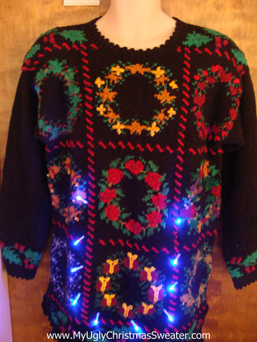Tic Tac Toe Wreaths Light Up Ugly Xmas Sweater