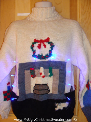 Two Sided 80s Christmas Sweater with Lights Fireplace and Tree (g217)