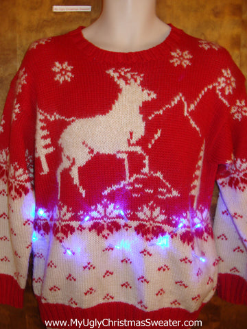 Vintage Reindeer Red Light Up Ugly Xmas Sweater