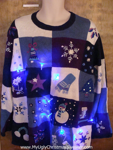 BLue Winter Themed Light Up Ugly Xmas Sweater