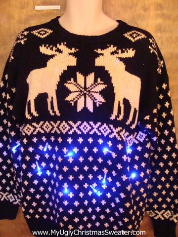 Dueling Moose Reindeer Light Up Ugly Xmas Sweater