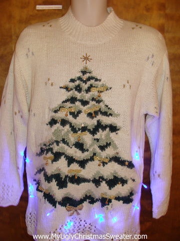 Horrible 80s Light Up Ugly Xmas Sweater with Tree