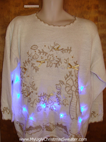 Fancy Wreath 80s Light Up Ugly Xmas Sweater