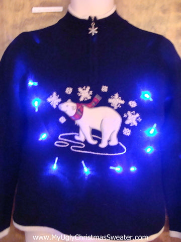 Polar Bear in the Snow Light Up Ugly Xmas Sweater